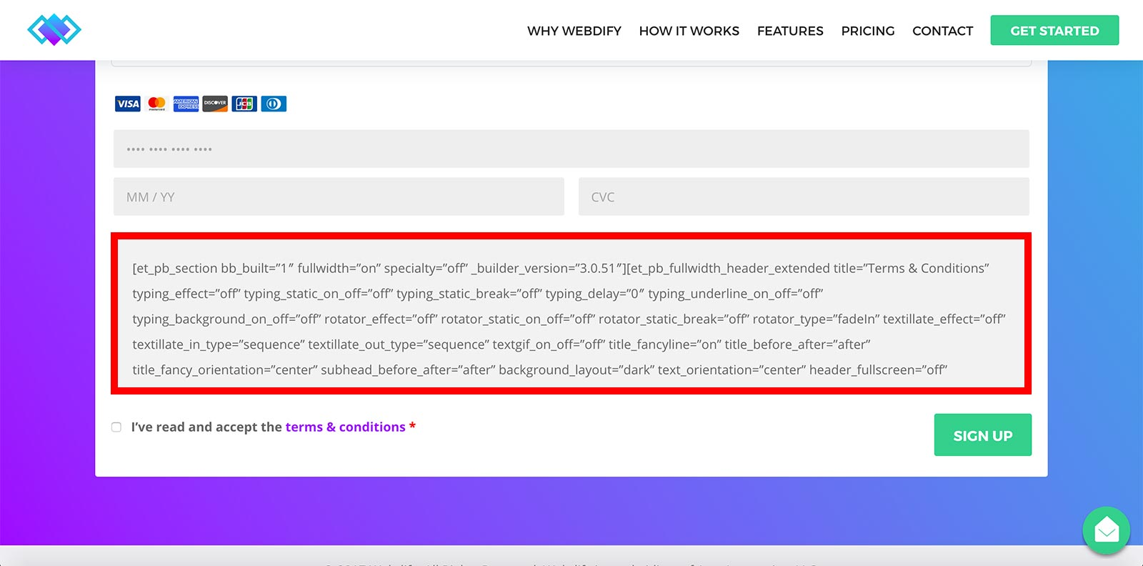 strip shortcodes woocommerce collapsing terms and conditions