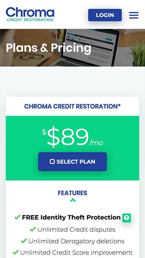 Chroma Credit Responsive Mobile Website