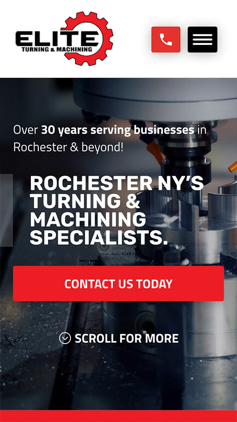 Elite Turning Machining Mobile Website Design