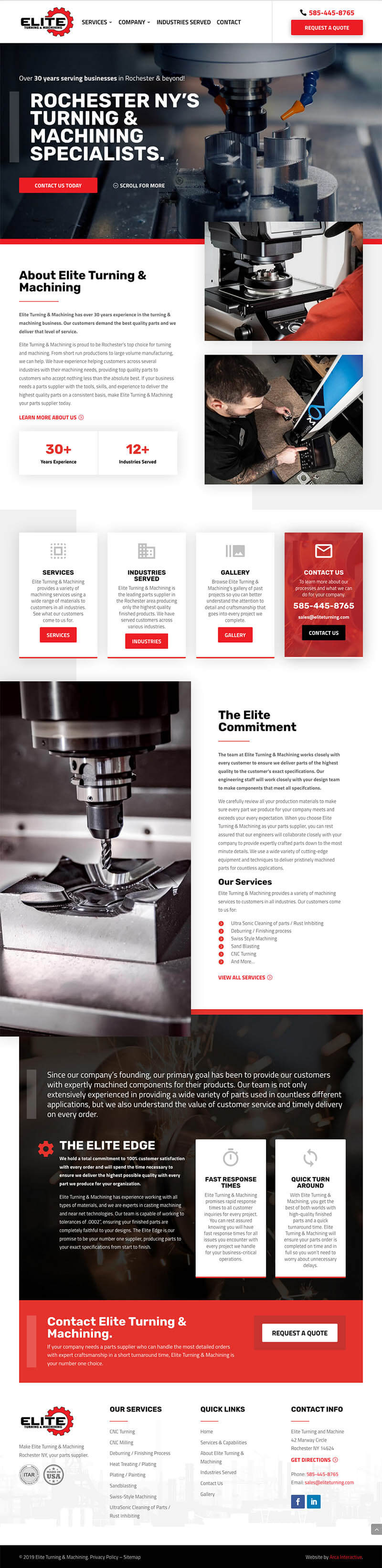 Elite Turning Machining Website Development