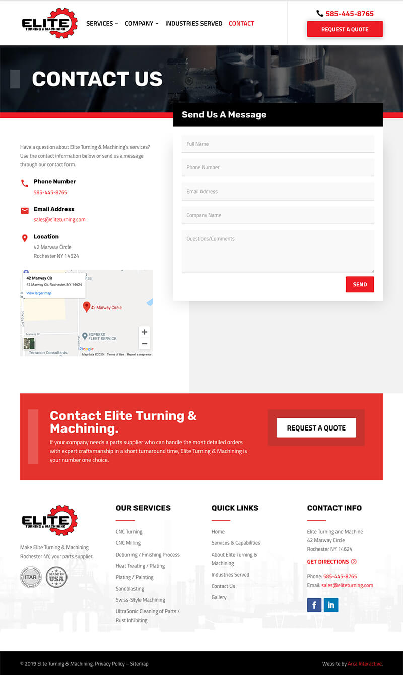 Elite Turning Machining Web Design