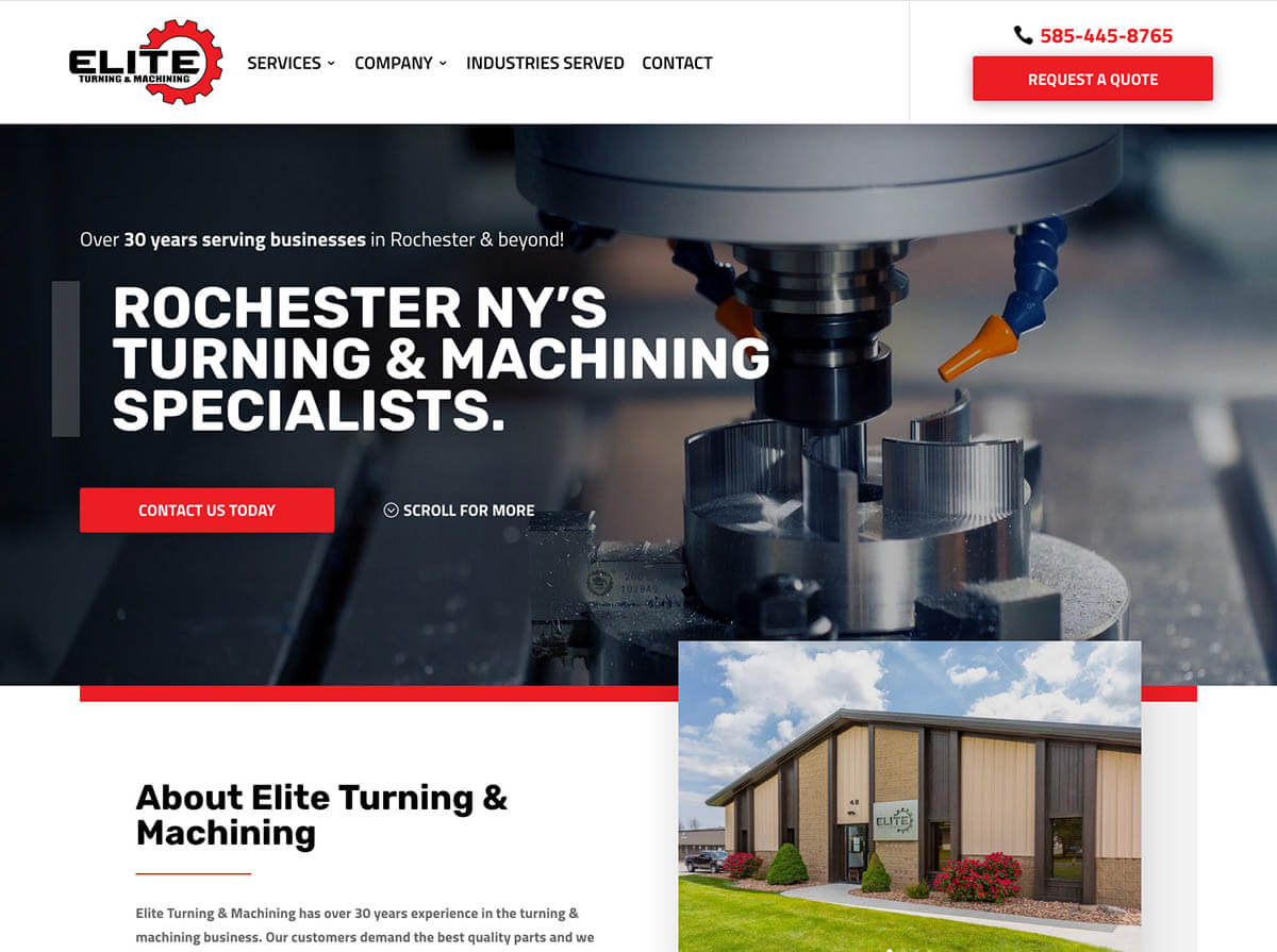 Elite Turning Machining Website Design
