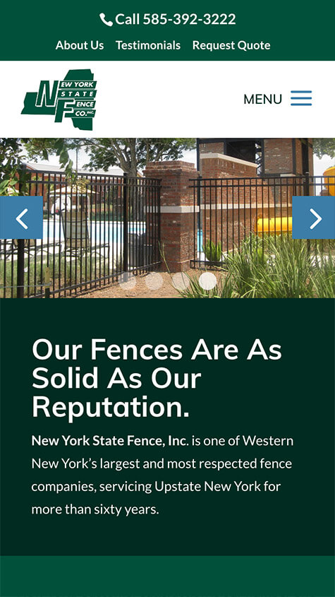 NYS Fence Mobile Website Design