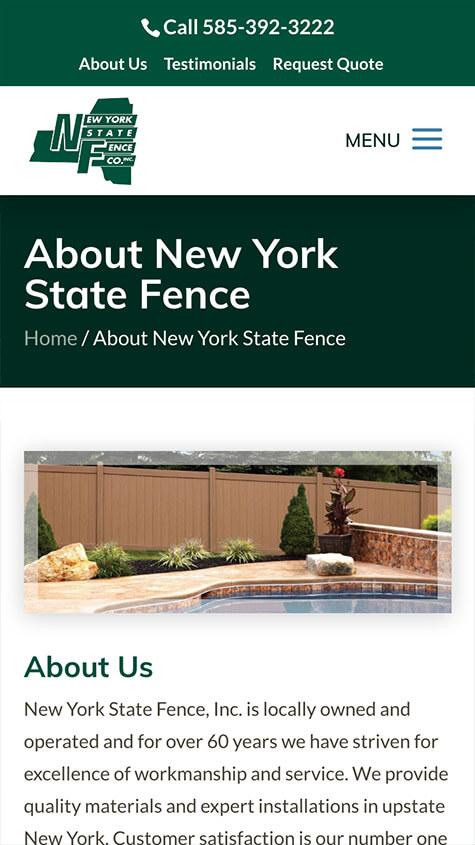 NYS Fence Responsive Website Design