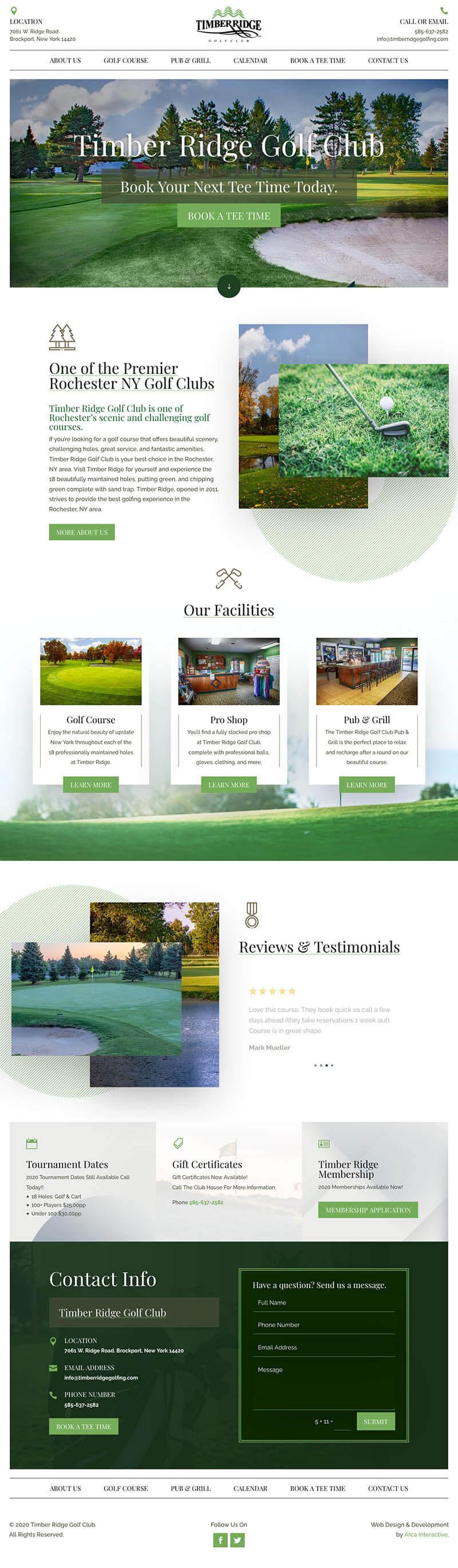 Timber Ridge Golf Web Design