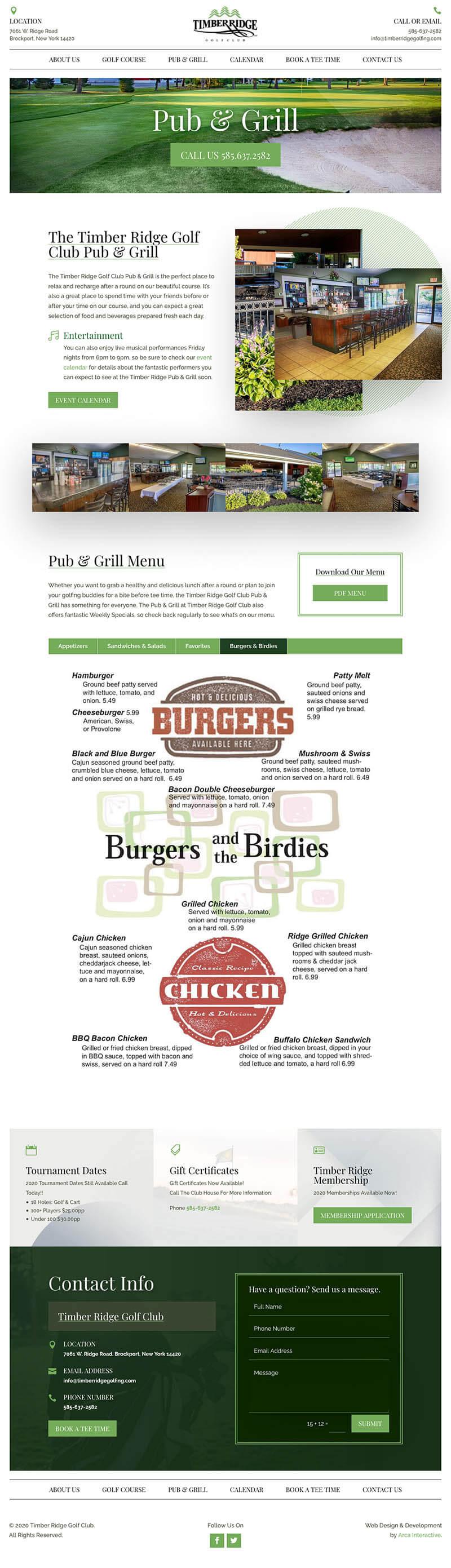 Timber Ridge Golf Web Development