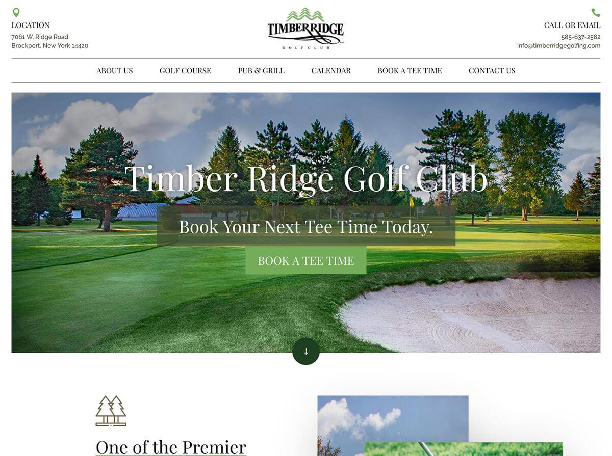 Timber Ridge Golf Website Design