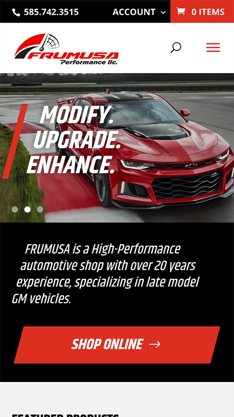 Frumusa Performance Mobile Website Design